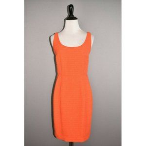 ANN TAYLOR Orange Textured Sleeveless Sheath Dress